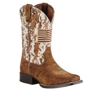 Ariat Brown Patriot Boots Military Camo Kids 3.5